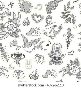 3202086a28fca vector seamless hand-drawn pattern with roses, hearts and knives in  monochrome colors