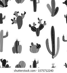 Vector seamless hand-drawn repeating black and white monochrome pattern with different cacti in Scandinavian style on a white background. Cute seamless pattern with cacti.