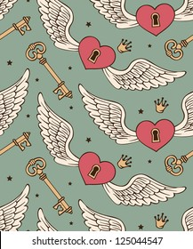 vector seamless with hearts and wings