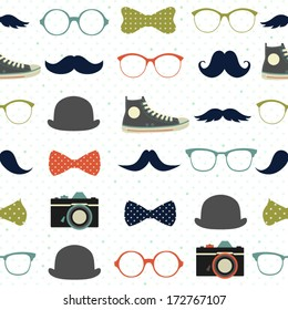 Vector seamless hipster background . Retro mustaches, glasses, bows, cameras and gym-shoes. Kid's elements for scrap-booking.