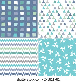 Vector seamless hipster geometric backgrounds in aqua blue, navy and white, with triangles, chevrons, polygons. Masculine patterns, grunge overlay for gift wrapping paper, textiles, scrapbooking.