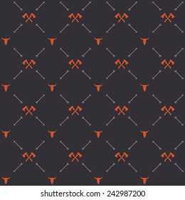 Vector seamless hipster retro pattern, with bull skull, crossed axes, arrows. For wallpaper, pattern fills, web page background, blog. Stylish texture. Vintage colors. Flat design.