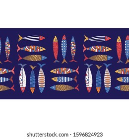Vector seamless horizontal border with fish. Cute sardines.