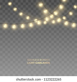 Vector seamless horizontal border of realistic light garlands. Festive decoration with shiny fairy Christmas lights. Glowing long bulbs isolated on the transparent background.