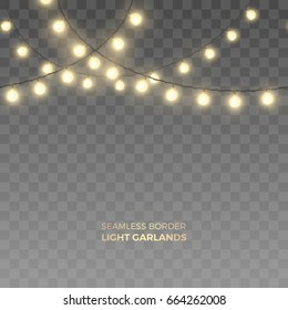 Vector seamless horizontal border of realistic light garlands. Festive decoration with shiny Christmas lights. Glowing bulbs isolated on the transparent background.