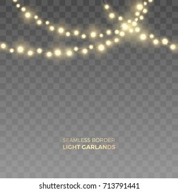 Vector seamless horizontal border of realistic yellow light garlands. Festive decoration with shiny Christmas lights. Glowing bulbs of the different sizes isolated on the transparent background.