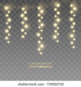 Vector seamless horizontal border of realistic yellow light garlands. Festive decoration with shiny Christmas lights. Vertically hanging glowing bulbs isolated on the transparent background.