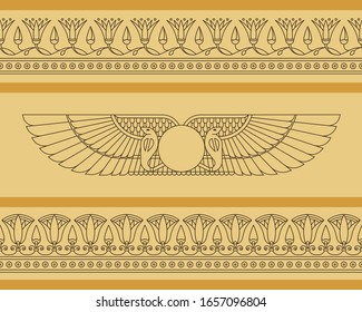Vector seamless horizontal pattern of winged disk in egyptian style with lotus flowers.