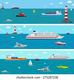Vector seamless horizontal sea background with ship icons. Boat and shipping, yacht and liner