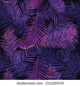 Vector seamless illustration with fern leaves. Tropic exotic painterly texture with violet and pink leaves. Jungle background can be used for fabric, printing industry, packaging and other.