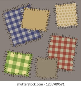Vector seamless illustration of light background of old canvas patches on fabric, darned holes torn material of old patchwork quilt.