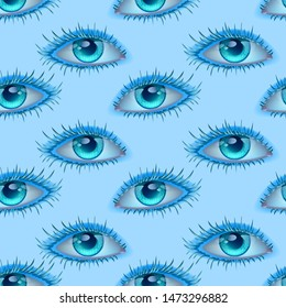 Vector seamless illustration of observing blue eyes alien abstract Wallpaper with eyes looking at you