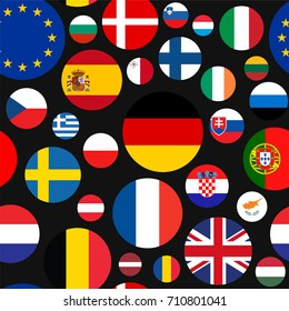 Vector seamless illustration set of European Union countries flags on black background. EU members flags.