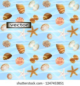 Vector seamless illustration of small shells in the water of the sea wave transparent can be seen starfish at the bottom of the blue background