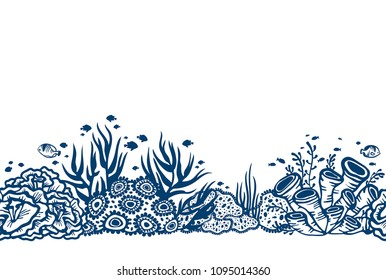 Vector seamless illustration with underwater coral reef with fishes and seaweeds on a white background.