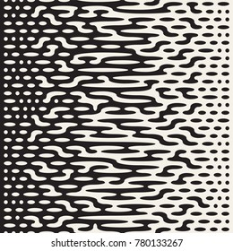 Vector seamless irregular lines. Halftone black and white color transition. Abstract trendy geometric background pattern