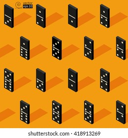 vector seamless isometric texture of black domino tiles. flat style. it can be used for wrapping paper, wall paper, fabrics, etc.