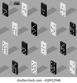 vector seamless isometric texture of white and black domino tiles in gray palette. flat style. it can be used for wrapping paper, wall paper, fabrics, etc.