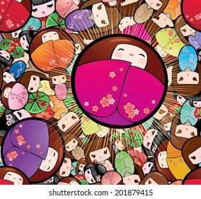 Vector Seamless Japanese Kokeshi Dolls Background
