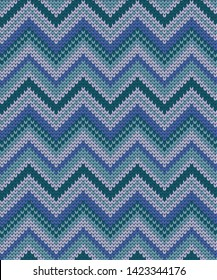 Vector seamless knitted pattern varicolored zigzag