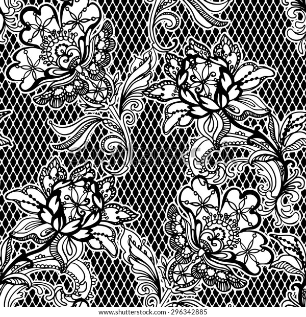 Seamless lace pattern with flowers Royalty Free Vector Image   620x600