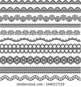 Vector seamless lace, lace romantic border, vintage sewing set