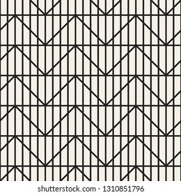 Vector seamless lattice pattern. Geometric striped zigzag lines ornament. Monochrome linear background tiling design.