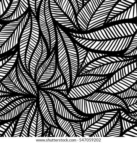 Vector Seamless Leaf Black White Transition Stock Vector Royalty