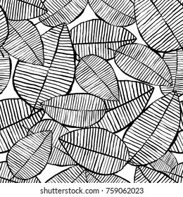 Vector seamless leaf pattern. Black and white background made with watercolor, ink and marker. Trendy scandinavian design concept for fashion textile print. Nature illustration.