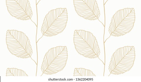 Vector seamless Leafs pattern white and gold. Pattern for wallpapers, textile, Scrapbooking etc.
