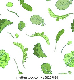 Vector seamless lettuce pattern. Vector illustration for backgrounds.