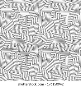Vector seamless linear pattern. Black and white illustration with hand drawn graphic. Background for print, web