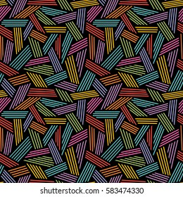 Vector seamless linear pattern. Color illustration with hand drawn graphic. Abstract background for print, web