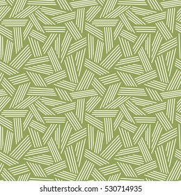 Vector seamless linear pattern. Green illustration with hand drawn graphic. Abstract background for print, web