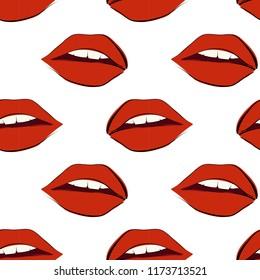 Vector seamless lips pattern