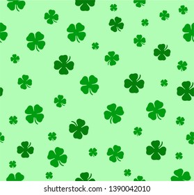 Vector seamless lucky clover pattern. Clover pattern for Saint Patrick's Day.