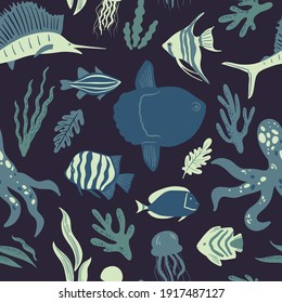 Vector seamless marine pattern with fish, coral, seaweed, tropical fishes, octopus, jellyfish, mola, marlin or swordfish. Ocean life and sea creatures or animals. Nautical background