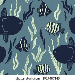 Vector seamless marine pattern with fish, seaweed, tropical fishes, mola. Ocean life and sea creatures or animals. Nautical background