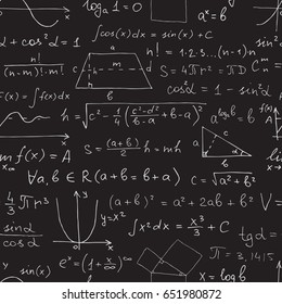Vector seamless math pattern. Chalk mathematical symbols on black blackboard.