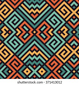 Vector Seamless Maze Pattern for Textile Design. Oriental Colorful Print Ornament with Tangled Lines