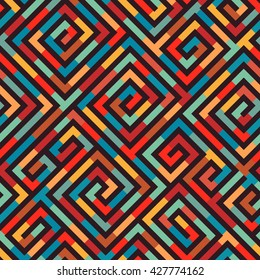 Vector Seamless Maze Pattern for Textile Design. Colorful Print Ornament with Tangled Lines