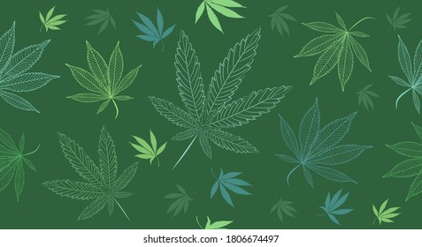 Vector Seamless Medical Cannabis, Marihuana Leaves on a Green Background. Hand painted ganja leaves for surface design - packaging, posters, textile design.