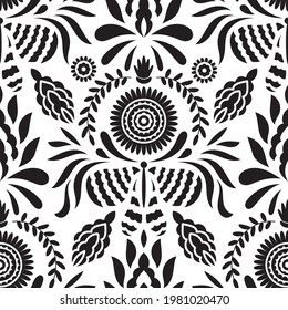 Vector Seamless Mexican Otomi Style Pattern with Butterflies and flowers
