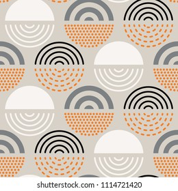 Vector seamless mid century absctract geometric pattern. Circle retro design.