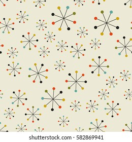 Vector seamless mid century absctract geometric pattern. Space retro design.
