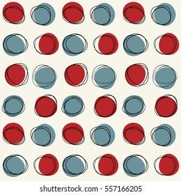Vector seamless mid century circle pattern. Doodle retro sketchy design.