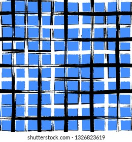 Vector seamless mid century plaid pattern with thin black crossing lines and stripes hand drawn in 1990s Memphis fashion style. Tiles pattern with check and squares. Vector simple blue background