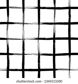 Vector seamless mid century plaid pattern with thin black crossing lines and stripes hand drawn in 1990s Memphis fashion style. Tiles pattern with check and squares. Vector simple white background