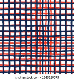 Vector seamless mid century plaid pattern with thin black crossing lines and stripes hand drawn in 1990s Memphis fashion style. Tiles pattern with check and squares. Vector simple blue red background