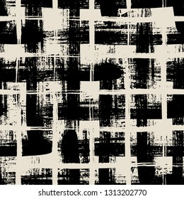 Vector seamless minimalist plaid pattern with bold black crossing lines and stripes hand drawn in 1990s grunge fashion style. Tiles pattern with check and squares. Vector simple black white background